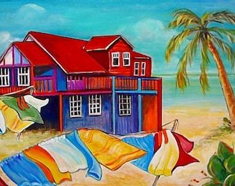 Ocean Art - Beach Bar - Andros Island - Bahamas - Wall Art - 8 X 10 Art Print - by Leah Reynolds