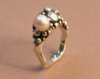 """Silver and pearl ring: """"my Favorite Ring"""""""