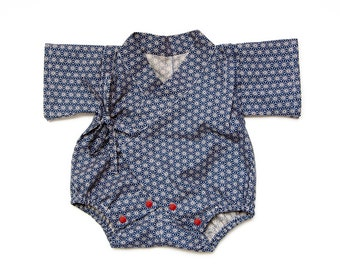 Baby kimono, romper, traditional japanese pattern, baby boy onesie, kawaii outfit, baby bodysuit, baby jinbei, gender neutral baby clothes