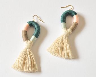 Wrapped Multicolor Tassel / Fringe Earrings - Modern Color Block - Teal Peach Brown Blue - Large Statement Drop - Gold Filled/Sensitive Ears