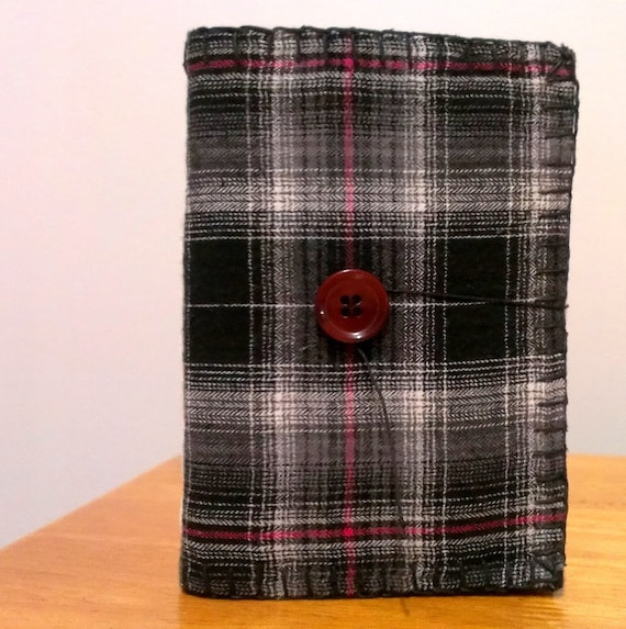 Upcycled plaid and felt covered mini notebook handmade