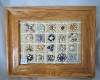 framed pearls, framed art, wall decor