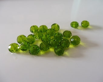 """20 faceted glass beads 8 x 6 mm """"olive green"""""""