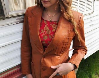 Vintage Reddish Brown 70s Leather Blazer/Jacket size Large