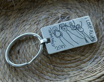 Your kids artwork in a Keychain. Your actual loved ones signature or handwriting. Sterling Silver