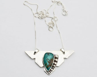 Statement Necklace Triangular, Turquoise Pendant, Triangular Jewelry, Triangle Pendant, Handmade Pendant, Sterling Silver, Geometric