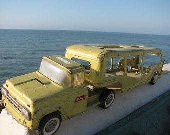 Buddy L Car Carrier Steel Truck n Trailer Car Hauler