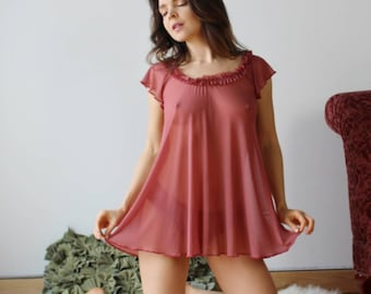 sheer babydoll with ruffle neck detail - RUFFLES - ready to ship - size small