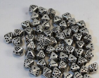 Silver Plated Acrylic Beads, 8mm 8-Sided Dice, Wholesale Loose Beads, Octahedron
