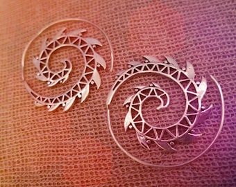 Spiral Power Tribal Design Earrings
