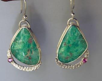 Ruby in Fuchsite Earrings in Silver, Green Stone Dangle Earrings, Pink Tourmaline Earrings, Green Statement Earrings, Earrings for Her