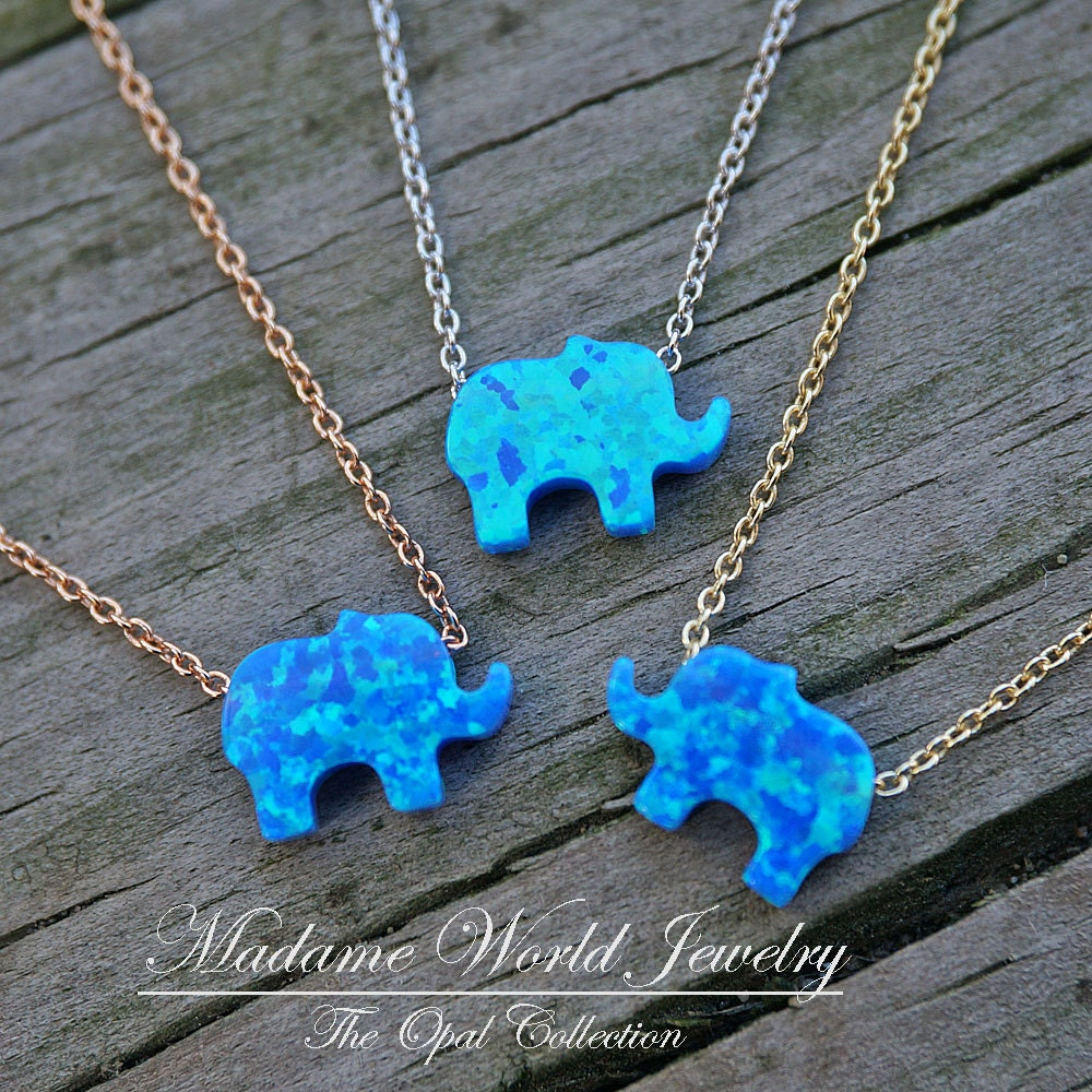 Reconstitute blue opal baby elephant necklace good luck zoom biocorpaavc