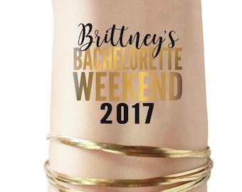 10 Bachelorette Weekend 2017 Tattoos - faux Metallic body jewelery tattoos - Custom batchelorette temporary tats - party weekend away