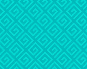 Modern Key Quilt Backing Fabric - Teal