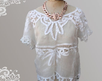 Beautiful Blouse recycled antique lace and organdy organza fabric