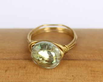 Gorgeous Shimmering Pale Green Glass and Brass Wire Wrapped Ring in Choice of Size 7, 8, or 9