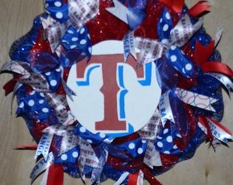 Texas Ranger Baseball Wreath