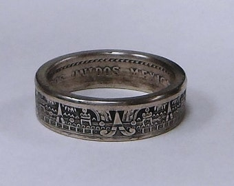 Sealed MAYAN CALENDAR Coin Ring made from Mexican 10 centavos coin sizes 4 -10