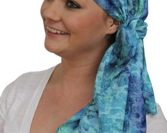 Jessica Pre-Tied Head Scarf, Women's Cancer Headwear, Chemo Scarf, Alopecia Hat, Head Wrap, Head Cover for Hair Loss - Blue Watercolors