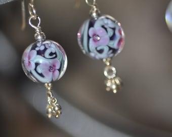 Purple, Green and Pink Floral Lampwork Earrings