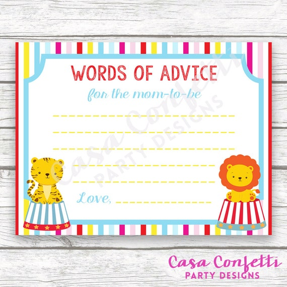 Circus Baby Shower Advice For Mom To Be Wishes For Baby Card