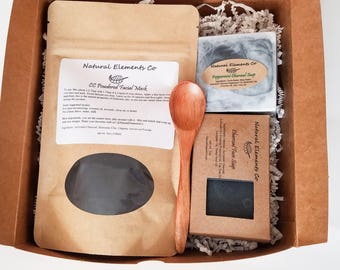 Charcoal Gift Set~ Charcoal Face Mask, Body Soap and Facial Soap~ Detox soap