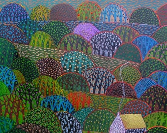 Into The trees a limited edition, numbered and signed A4 print from an Original Painting by Richard Friend