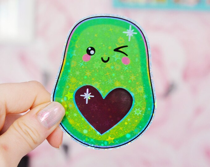Avocado Holographic Sticker