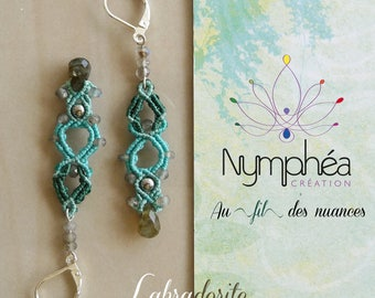 "Earrings ""Labradorite"" - water lily fine macrame jewelry"