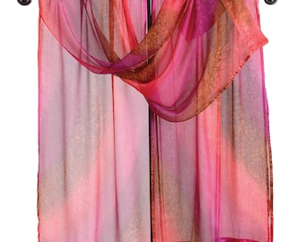 Ruana en soie peintes en rouge HIBISCUS