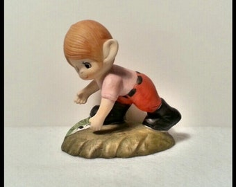 SALE - Garden Elf Pixie Boy Figurine - Vintage Porcelain