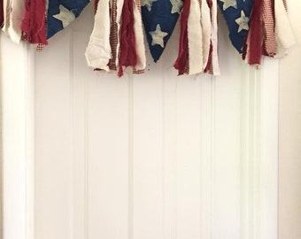 Mini Batik Indigo Star Garland. Torn Fabric Garland. Natural Home Room Decor. Shower Banner. Garland Backdrop. Primitive.  Fabric Banner.