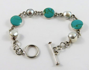 """Mexican Sterling Silver 7"""" Turquoise And Fresh Water Pearl Bracelet"""