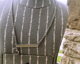 Silver Bar Necklace with Heart Charm