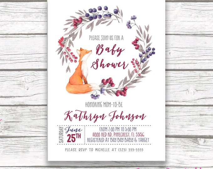Woodland Baby Shower Invitation, Forest Baby Shower Invitation, Fox Baby Shower Invitation, Woodland Forest Invitation, Printable Invite