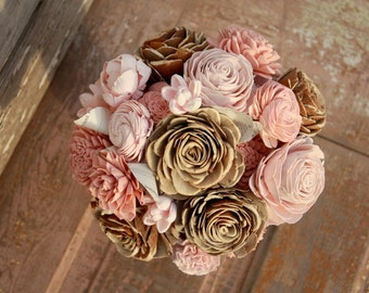 Sola flower bouquet, brides wedding bouquet, rose gold, blush wedding flowers, eco flower bouquet, alternative keepsake bridal bouquet