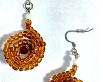 Golden Brown Swirl Earrings
