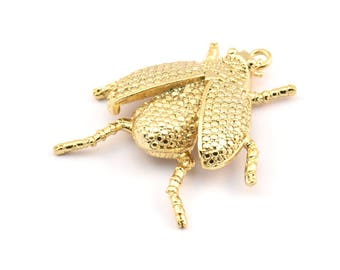 Tiny Bug Charm, 2 Gold Plated Brass Bug Fly Insect Charms (41x35mm) N242 Q054