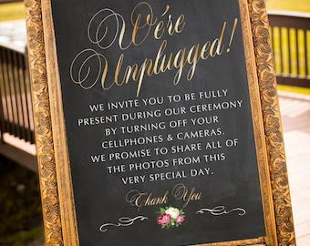 Printable Unplugged Wedding Sign, Unplugged Wedding Ceremony Sign, Unplugged Ceremony Sign, Chalkboard Gold Wedding Sign, DIGITAL Sign