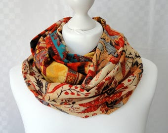 Tribal ethnic print infinity scarf, Circle scarf, Ethnic print scarf, Print scarf, Scarf for her, Lightweight scarf, Fashion scarf