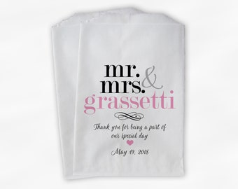 Mr & Mrs Candy Buffet Bags - Personalized Last Name Wedding Favor Bags - Black and Pink Paper Treat Bags