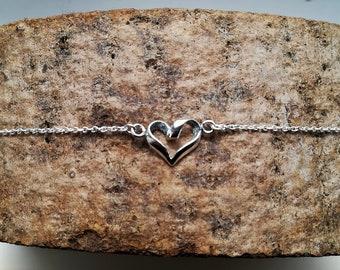 Sterling Silver heart Bracelet, Dainty Silver925 Bracelet, Silver Heart Bracelet Silver Dainty Bracelet