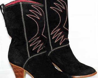 Like New! Justin Black Suede Cowgirl Boots With Red And White Top Stitch Design Size 7.5 Women's Shoes Western Boots ChooseFlavor