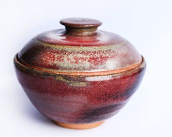 Lidded Stoneware Pottery Bowl ~  Purple, Burgundy & Gray Ceramic Pottery ~ Primitive Rustic Country Farmhouse Kitchen Dining Decor