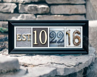 Paper Anniversary, Custom Wedding Date, Personalized Frame, Color Number Photos, Established Date Frame, First Anniversary Gift