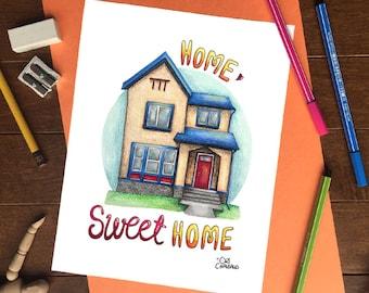 Custom House Illustration, Custom House Portrait, Bespoke House Illustration, Home Illustration, House Warming Gift - Digital File Only -