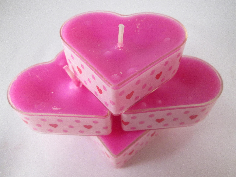 Heart Candles Pink Tealights Heart Tealights Washi