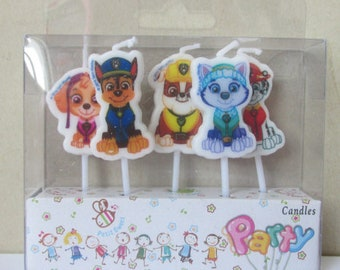 Cute 5pc Puppy Dog Birthday Party Candle Cake Toppers Cupcake