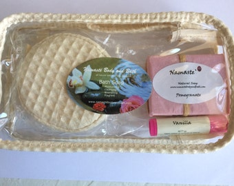Beauty Bag w/Bath Soap, Lip balm and Body Scrub/Sponge