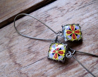 Whimsical earrings, Mexican tile design in minature, Talavera pottery design, Mexican folk art drop earrings, Native American, Tribal dangle
